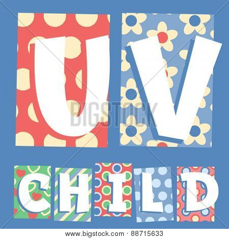 Vector set of cosy countryside children font. Letters U V