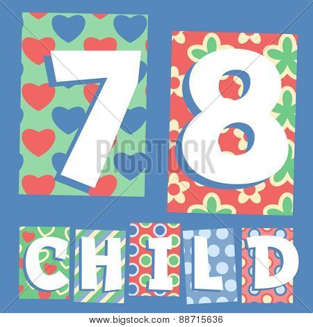 Vector set of cosy countryside children font. Numbers 7 8