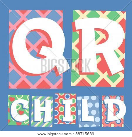 Vector set of cosy countryside children font. Letters Q R