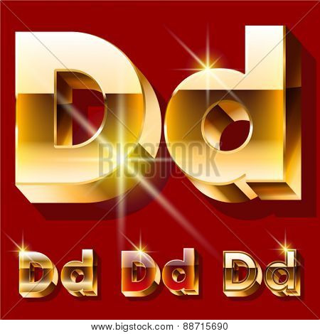 Vector set of deluxe sparkling  gold font. Optional red and gold style. Letter D