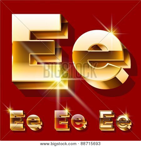 Vector set of deluxe sparkling  gold font. Optional red and gold style. Letter E