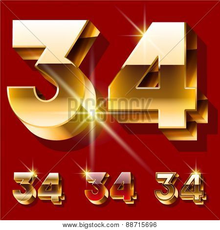Vector set of deluxe sparkling  gold font. Optional red and gold style. Numbers 3 4