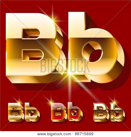 Vector set of deluxe sparkling  gold font. Optional red and gold style. Letter B