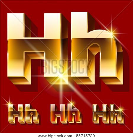 Vector set of deluxe sparkling  gold font. Optional red and gold style. Letter H