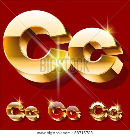 Vector set of deluxe sparkling  gold font. Optional red and gold style. Letter C