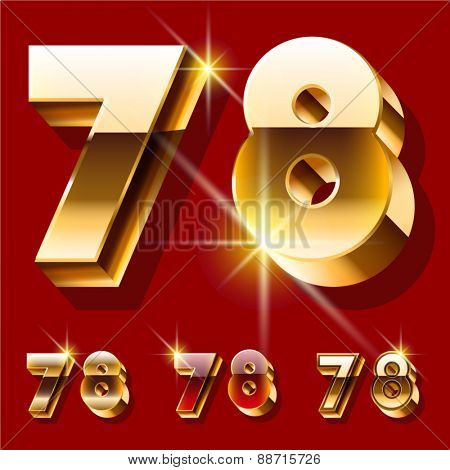 Vector set of deluxe sparkling  gold font. Optional red and gold style. Numbers 7 8