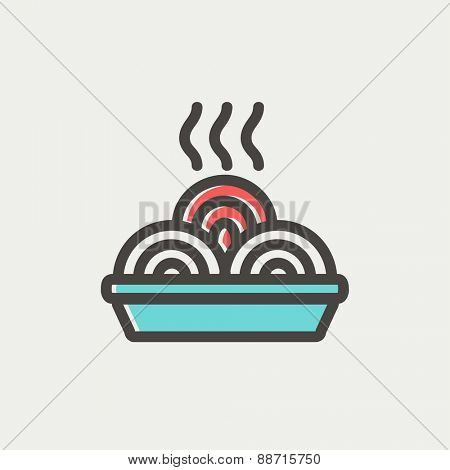 Hot meal in plate icon thin line for web and mobile, modern minimalistic flat design. Vector icon with dark grey outline and offset colour on light grey background.