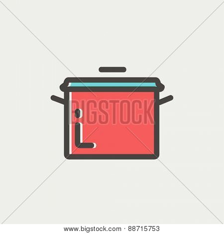 Casserole icon thin line for web and mobile, modern minimalistic flat design. Vector icon with dark grey outline and offset colour on light grey background.