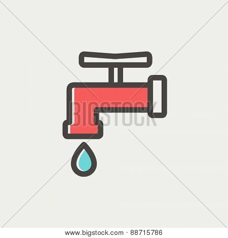 Faucet with water drop thin line for web and mobile, modern minimalistic flat design. Vector icon with dark grey outline and offset colour on light grey background.