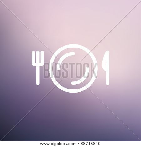 Plate, knife and fork icon thin line for web and mobile, modern minimalistic flat design. Vector white icon on gradient mesh background.