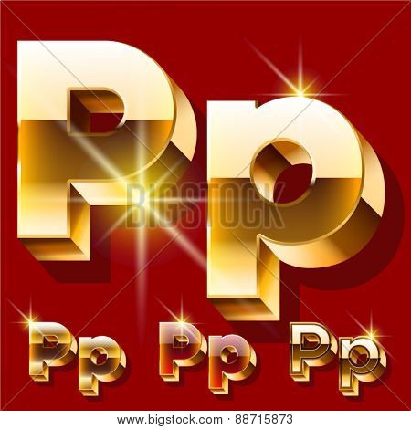 Vector set of deluxe sparkling  gold font. Optional red and gold style. Letter P