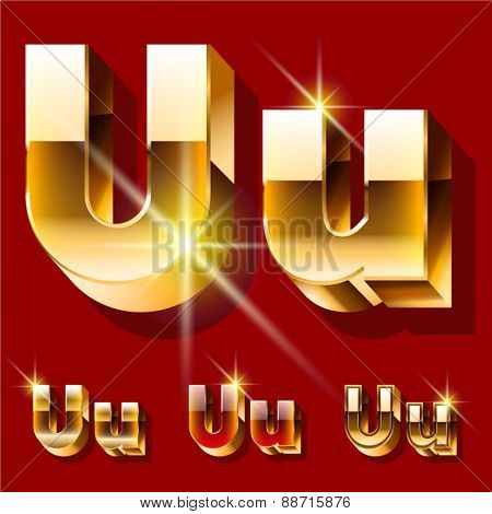 Vector set of deluxe sparkling  gold font. Optional red and gold style. Letter U