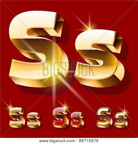 Vector set of deluxe sparkling  gold font. Optional red and gold style. Letter S