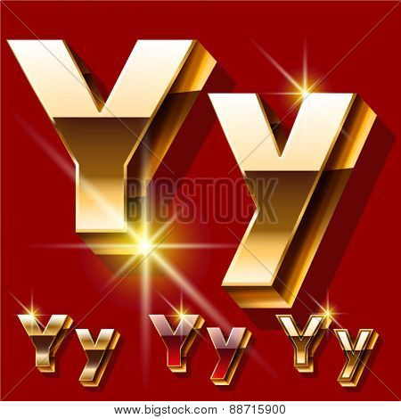 Vector set of deluxe sparkling  gold font. Optional red and gold style. Letter Y