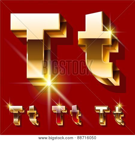 Vector set of deluxe sparkling  gold font. Optional red and gold style. Letter T