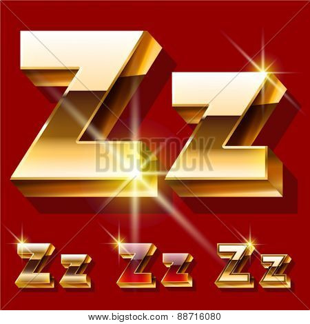 Vector set of deluxe sparkling  gold font. Optional red and gold style. Letter Z