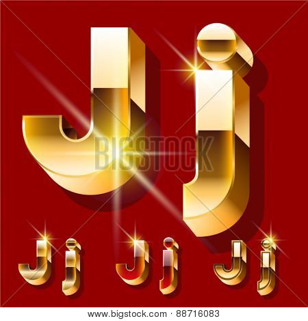 Vector set of deluxe sparkling  gold font. Optional red and gold style. Letter J