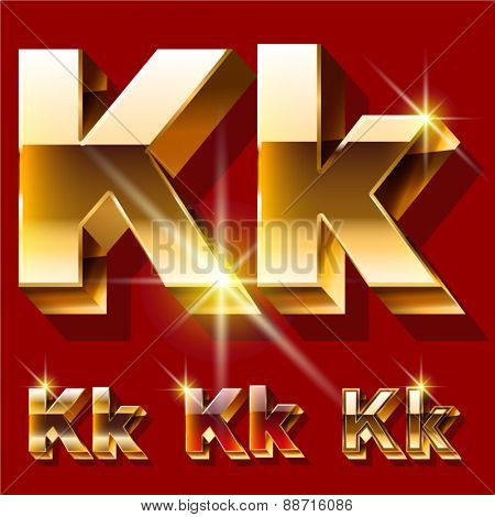 Vector set of deluxe sparkling  gold font. Optional red and gold style. Letter K