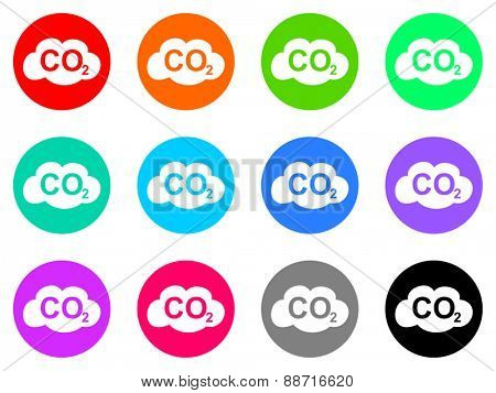carbon dioxide vector web icon set