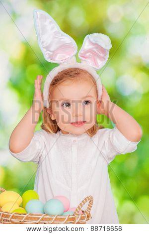 cute little easter bunny girl