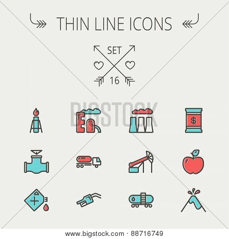 Ecology thin line icon set for web and mobile. Set includes- gas tank, truck, nozzle, container, pipe, valve, volcano, factory icons. Modern minimalistic flat design. Vector icon with dark grey