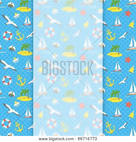 Nautical Icons Background With Blurred Banner