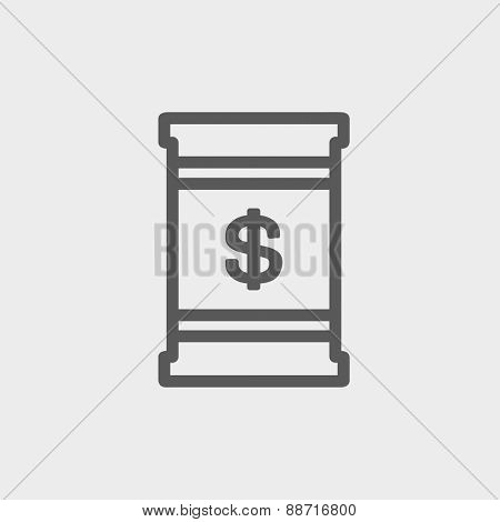 Barrel with dollar symbol icon thin line for web and mobile, modern minimalistic flat design. Vector dark grey icon on light grey background.