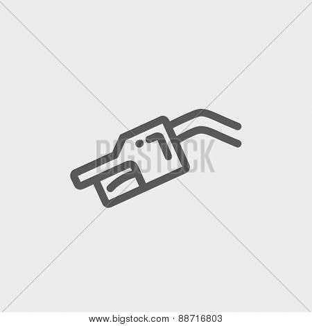 Gasoline pump nozzle icon thin line for web and mobile, modern minimalistic flat design. Vector dark grey icon on light grey background.