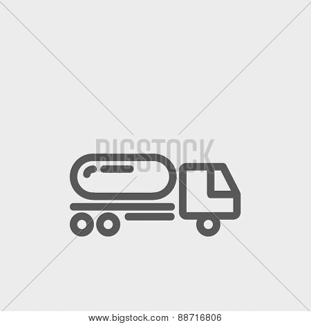 Fuel truck icon thin line for web and mobile, modern minimalistic flat design. Vector dark grey icon on light grey background.