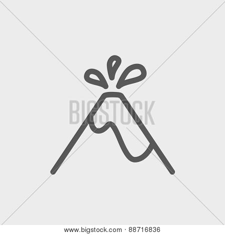 Volcano exploding icon thin line for web and mobile, modern minimalistic flat design. Vector dark grey icon on light grey background.