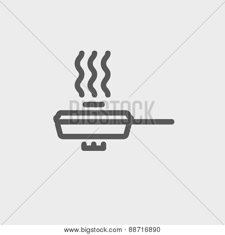 Frying pan with cover icon thin line for web and mobile, modern minimalistic flat design. Vector dark grey icon on light grey background.