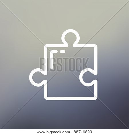 Jigsaw puzzle icon thin line for web and mobile, modern minimalistic flat design. Vector white icon on gradient mesh background.
