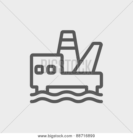Oil platform thin line icon for web and mobile, modern minimalistic flat design. Vector dark grey icon on light grey background.