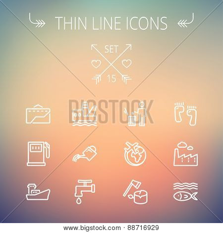 Ecology thin line icon set for web and mobile. Set includes-gasoline pump, fish, ship, garbage bin,watering can, faucet, global  icons. Modern minimalistic flat design. Vector white icon on gradient
