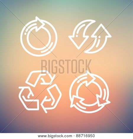 Set of recycle arrow icon thin line for web and mobile, modern minimalistic flat design. Vector white icon on gradient mesh background.