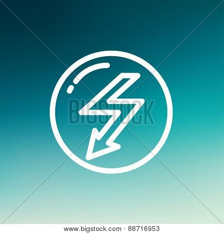 bubble with lightning arrow icon thin line for web and mobile, modern minimalistic flat design. Vector white icon on gradient mesh background.