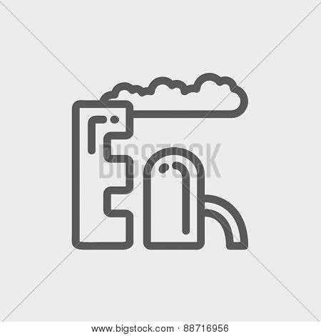 Factory pipe icon thin line for web and mobile, modern minimalistic flat design. Vector dark grey icon on light grey background.