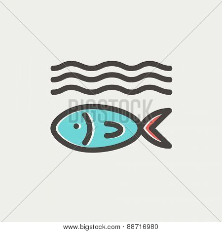 Fish under water thin line for web and mobile, modern minimalistic flat design. Vector icon with dark grey outline and offset colour on light grey background.