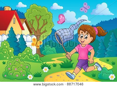 Girl chasing butterflies theme image 3 - eps10 vector illustration.