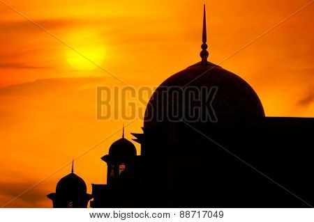 Mosque in a sunset