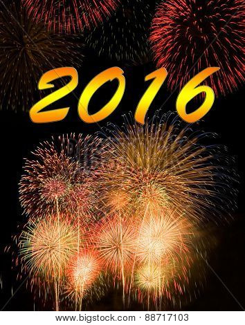 Calendar cover. Fireworks on new year 2016.