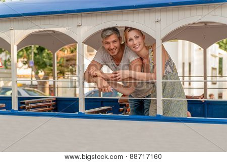 summer vacation train couple