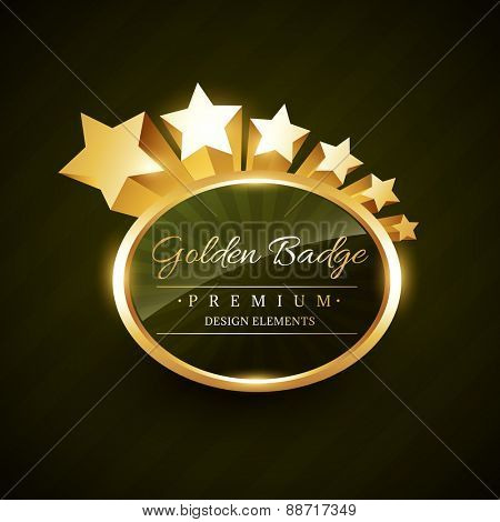 vector golden badge design with stars flowing
