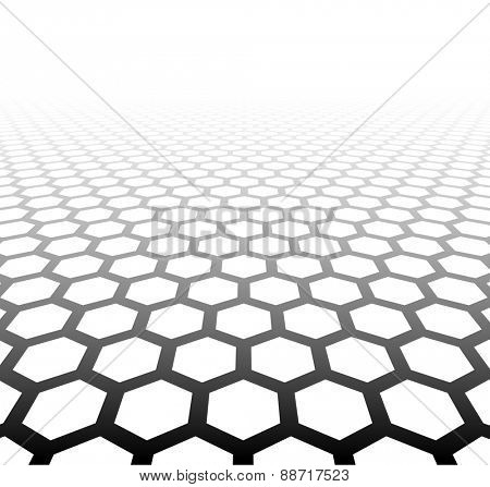 Perspective grid hexagonal surface. Vector illustration.