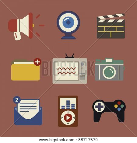 Social Media Funky Internet Symbols Icons Vector Concept
