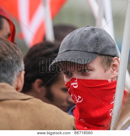 MOSCOW, RUSSIA - MAY 1, 2012: During the celebration of May Day in the centre of Moscow. Communist party supporters take part in a rally marking the May Day.