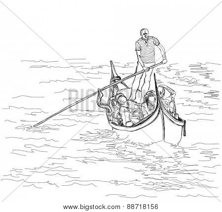 Venice. Italy. The gondolier floats on a gondola with tourists. Vector black & white sketch