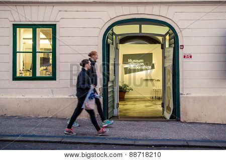 ZAGREB, CROATIA - 12 MARCH 2015: A view of the entrance to the Museum of Broken Relationships with tourists passing by.