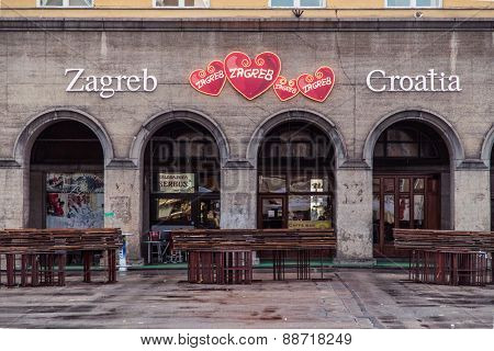 ZAGREB, CROATIA - 11 MARCH 2015: View of Zagreb's Dolac market after working hours and the