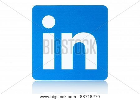 KIEV UKRAINE - FEBRUARY 19 2015: Linkedin logo sign